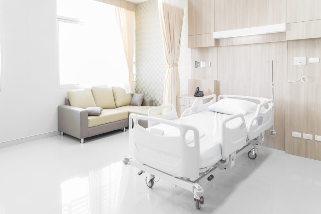 Hospital room with beds and comfortable medical equipped in a modern hospital