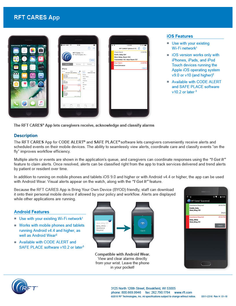 Mobile App Spec Sheet for RF Cares App