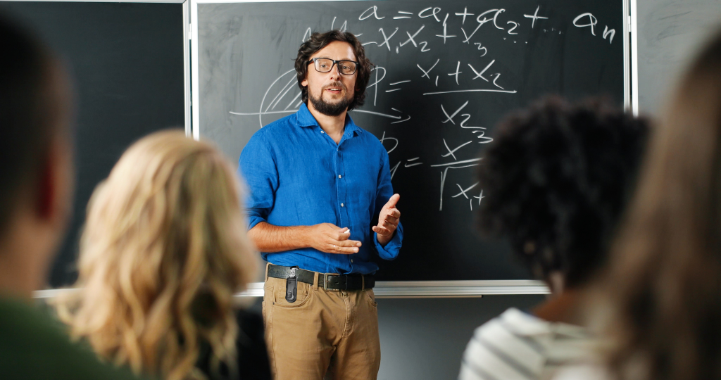 teacher teaching with help alert alarm
